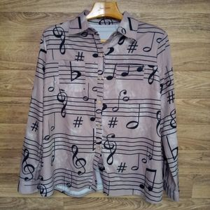 Music note print button up shirt